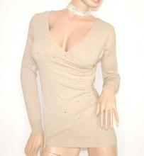MAGLIONE donna MAGLIETTA BEIGE maniche lunghe maglia cristalli maglioncino sexy zip oro pullover scollo V Z1
