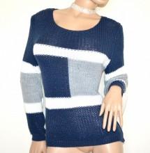 MAGLIONE lana donna blu grigio bianco golfino girocollo manica lunga lana maglia made in italy G64