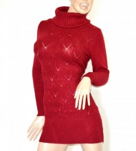 MAGLIONE MAXI PULL donna ROSSO abito vestito collo alto dolcevita manica lunga G77
