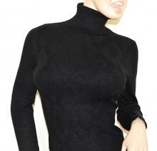 MAGLIONE NERO donna collo alto maglia manica lunga pullover dolcevita rombi A35
