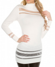MAXI PULL BIANCO donna maglietta collo alto maniche lunghe maglione pullover AZ2