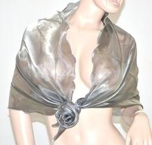 MAXI STOLA GRIGIO-ARGENTO donna CERIMONIA elegante coprispalle abito\vestito metallizzata matrimonio foulard F5
