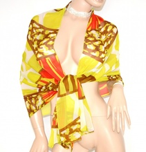 MAXI STOLA VERDE CORALLO BRONZO foulard donna elegante coprispalle velato seta da cerimonia S6