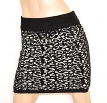 MINIGONNA NERA BIANCA donna lana gonna corta sexy elasticizzata skirt jupe Z3