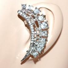 MONO ORECCHINO donna argento ragazza strass cristalli brillantini idea regalo F223