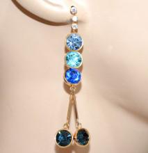 MONO ORECCHINO donna cristalli blu azzurri celesti oro strass pendente CC215