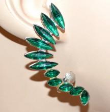 MONO ORECCHINO donna cristalli verde argento ragazza cristalli bigiotteria moda CC195
