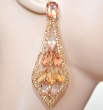 ORECCHINI AMBRA CORALLO ROSA CIPRIA donna cristalli strass pendenti gocce eleganti S4