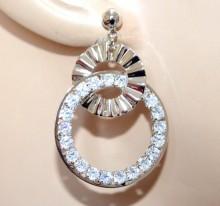 ORECCHINI argento cerchi strass donna pendenti cristalli brillantini sposa silver earrings BB52