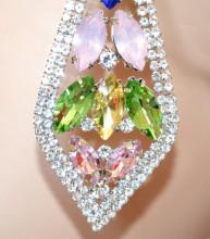 ORECCHINI ARGENTO donna cristalli rosa verde blu strass gialli pendenti gocce S4