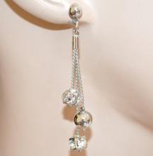 ORECCHINI argento donna pendenti fili ciondoli sfera cristalli strass eleganti N50