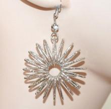ORECCHINI argento donna pendenti strass cerchi spirale boucles silver earrings CC176