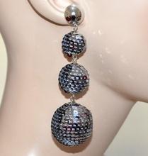 ORECCHINI argento paillettes grigio pendenti donna eleganti party disco A21