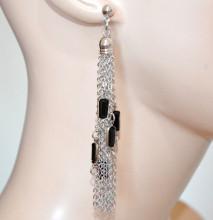 ORECCHINI ARGENTO PIETRE NERE donna multi fili pendenti lunghi eleganti earrings N78