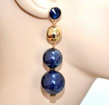 ORECCHINI BLU ORO donna pendente cristallo ciondoli dorati eleganti earring BB88