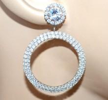 ORECCHINI cerchi argento donna strass cristalli pendenti sposa cerimonia Creolen BB40