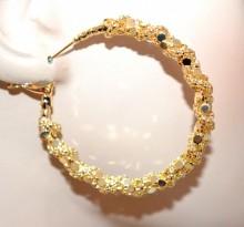 ORECCHINI cerchi oro dorati donna intrecciati nido ape lucidi ondulati 5 cm BB43