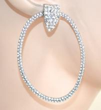 ORECCHINI CERCHI pendenti donna argento ovali strass eleganti boucles F155