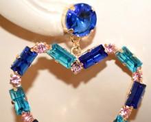 ORECCHINI CUORI pendenti donna oro dorato strass blu azzurri rosa cristalli eleganti BB65