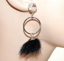 ORECCHINI donna argento cerchi pendenti cristallo pon pon nero ragazza moda CC84