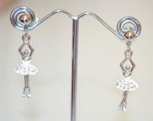 ORECCHINI donna argento ciondoli ballerine bianche pendenti smaltati strass ragazza colgantes N74