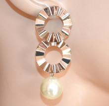 ORECCHINI donna ARGENTO ciondolo perla bianca cerchi pendenti silver earrings CC233