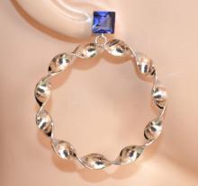 ORECCHINI donna ARGENTO cristallo blu cerchi pendenti ondulati earrings CC225