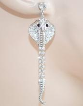 ORECCHINI donna argento elegante SERPENTE COBRA strass pendente cristalli da cerimonia 140X
