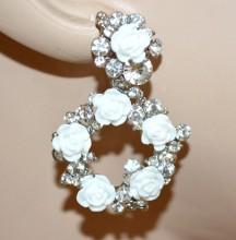 ORECCHINI donna argento fiori bianchi pendenti cerchi strass sposa earrings BB10