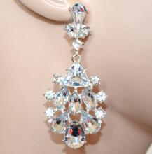 ORECCHINI donna argento platino pendenti cristalli strass eleganti серьги CC165