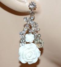 ORECCHINI donna BIANCHI argento pendenti fiori strass cristalli серьги BB6