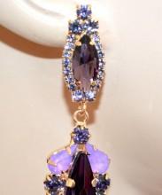 ORECCHINI donna cristalli AMETISTA VIOLA LILLA GLICINE ORO pendenti strass pendientes aretes BB58