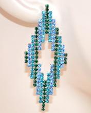 ORECCHINI donna CRISTALLI eleganti pendenti ROMBI strass AZZURRO VERDE da cerimonia boucles 125X