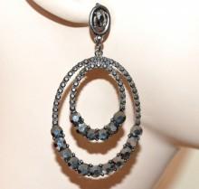 ORECCHINI donna cristalli grigio neri strass pendenti cerchi ovali pendientes CC145