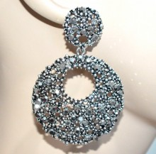 ORECCHINI donna grigio argento cerchi pendenti strass brillantini etnici gray earrings BB29