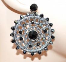 ORECCHINI donna grigio neri argento cerchi pendenti etnici cristalli pietre uncinetto BB46