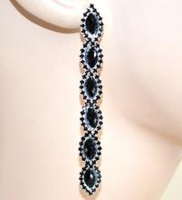 ORECCHINI donna NERI cristalli pietre strass pendenti eleganti F195