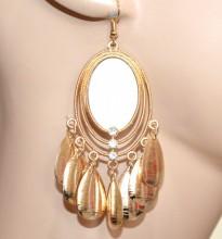 ORECCHINI donna oro argento etnici pendenti specchio ovali pendagli monetine strass earrings CC83