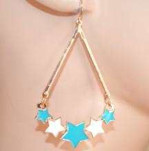 ORECCHINI donna ORO AZZURRO CELESTE BIANCO pendenti stelle ciondoli dorati ragazza CC223