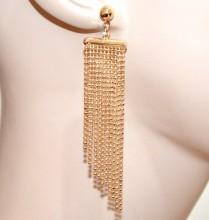 ORECCHINI donna oro dorati multi fili diamantati luccicanti pendenti pendientes BB36