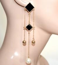 ORECCHINI donna oro dorati pendenti fili lunghi ciondoli rombi neri perle CC94