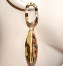 ORECCHINI donna oro dorati pendenti ovali ondulati martellati earrings CC133