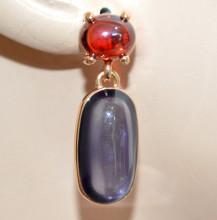 ORECCHINI donna ORO VIOLA Ametista ROSSO rubino pietre cristalli pendenti pendientes N65