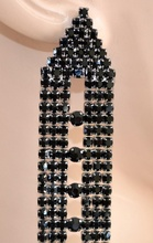 ORECCHINI donna strass NERI cristalli eleganti pendenti cerimonia earrings 1095
