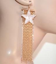 ORECCHINI fili pendenti lunghi oro dorati donna ciondolo stella strass party G35