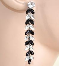 ORECCHINI NERI donna pendenti strass cristalli sposa cerimonia eleganti F125