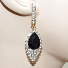 ORECCHINI ORO CRISTALLO NERO donna pendenti strass eleganti gold earrings CC180