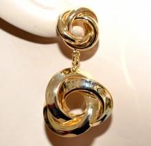 ORECCHINI oro dorati donna cerchi pendenti torchon lucidi eleganti ohrringe BB48