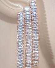 ORECCHINI ORO ROSA donna cristalli fili pendenti lunghi strass earrings ohrringe D10