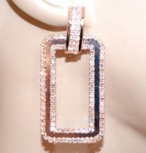 ORECCHINI oro rosa donna pendenti rettangolari strass cristalli metallo BB20